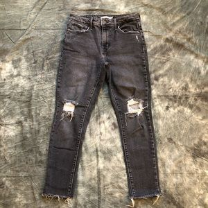 Levi's high rise skinny jeans gray distressed